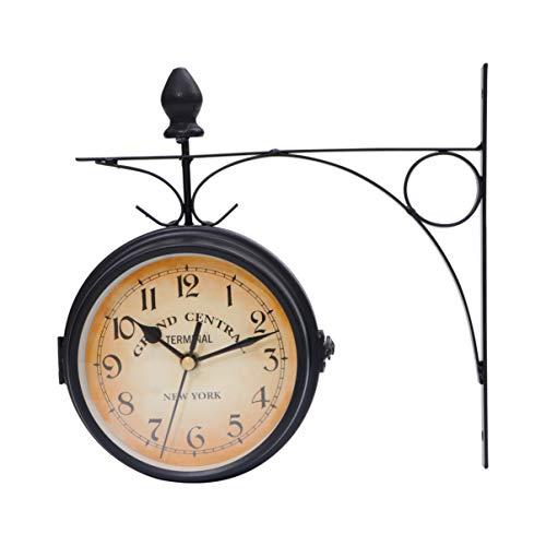 Homoyoyo Vintage Reloj de Pared de Doble Cara de Hierro Forj