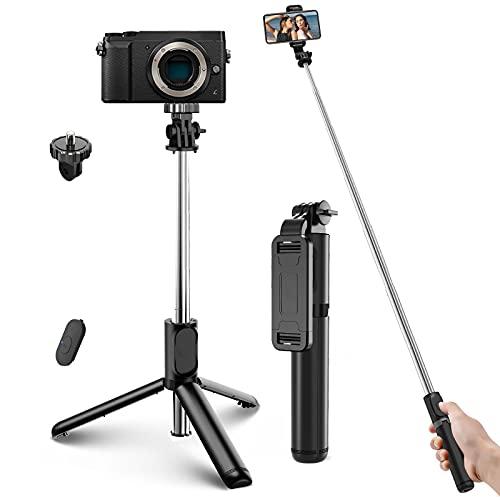 Bastone Selfie Wireless, 4 in 1 Asta Selfie Stick Bluetooth 100cm con Treppiede e Telecomando Wireless per Samsung Huawei LG HTC 3,7-6,8in Cellulare Camera Gopro ECC