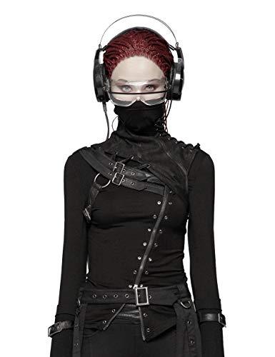 Punk Rave Damen Steampunk Halsband Kostüm Zubehör für Gothic Maskerade Halloween Weihnachten Party Schwarz M-L