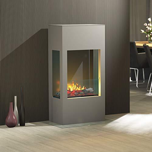Muenkel Design Prism 620 [elektrische haard Opti-myst] 3-zijdig zicht: aluminiumgrijs - decoratief hout met staanrooster (gekarteld) - met verwarming