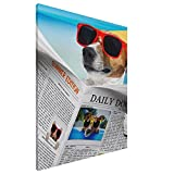 Canvas Wall Art Dog With Glasses Reading Newspaper Ocean Beach Printed Wall Art Modern Artwork Wall Painting For Living Room Bedroom Office Wall Decor And Home Decor