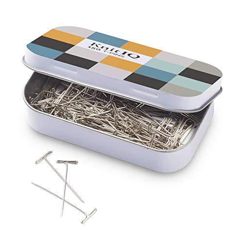 Alfileres en T de Acero Inoxidable KnitIQ para Bloquear Tejido de Punto o Coser | 150 Unidades, T-Pins de 38mm | Viene con una Lata Reutilizable con Bisagras (Diseño a Cuadros)