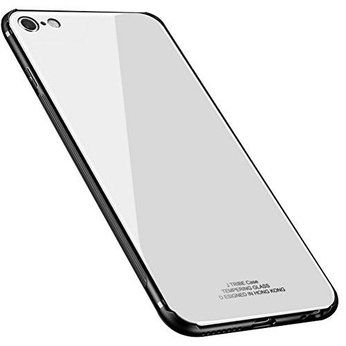 blossom01 Custodia iPhone 7, iPhone 8 Cover Posteriore in Vetro Temperato Cornice in TPU Morbida Assorbimento degli Urti Protezione Completa a 360 Gradi Protezione - Argento