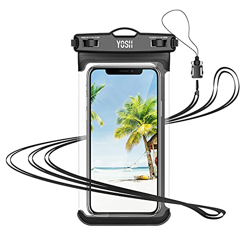 YOSH Funda Impermeable Móvil IPX8, Bolsa para Móvil Estanca a Prueba de Agua para iPhone 12 Pro MAX 11 XR X MAX Galaxy Note 20 S20 Ultra Xiaomi Poco X3 Huawei Mate40 Pro hasta 7.5''