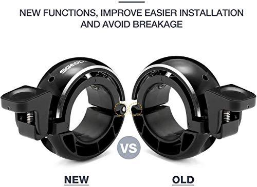SGODDE Fahrradklingel,O Design Fahrradglocke Laut, Mini Aluminiumlegierung Innovative Fahrrad Ring Q Bell Radfahren Fahrrad Klingel Glocke MTB Mountainbike Alarm Horn Ring, für 22.2-24mm Lenker - 3