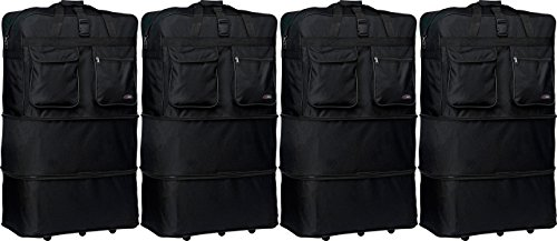 """New 4 pack of 40"""" black expandable rolling wheeled duffle bag spinner suitcase luggage -6 wheels"""