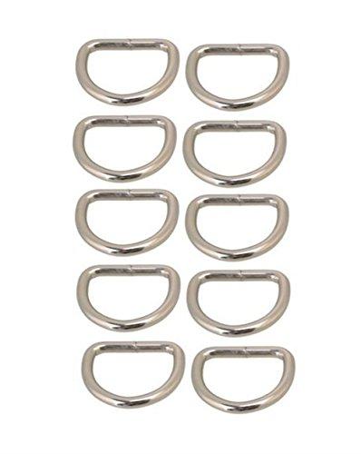 CraftyThings Ximkee D-Rings for Bag or Purse Handles - Pack of 10-25mm Nickel (20mm)