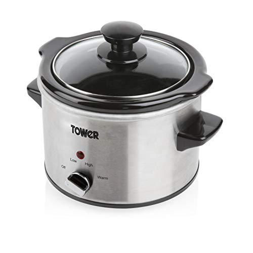 Tower Stainless Steel Slow Cooker with 3 Heat Settings, Keep Warm Function,...