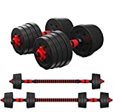 Zoogamo Adjustable Dumbbells Set Weight to 66Lbs, Free Weight with Connecting Rod Used As Barbell, for Men and Women Home Gym Work Out Training Fitness Equipment All-Purpose