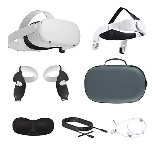 2021 Oculus Quest 2 All-In-One VR Headset, Touch Controllers, 64GB SSD, Glasses Compitble, 3D Audio, Mytrix Head Strap, Carrying Case, Earphone, Oculus Link Cable (3M), Grip Cover, Lens Cover