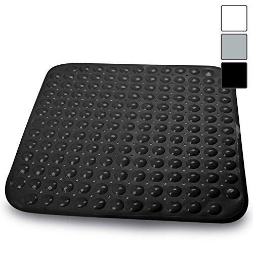 Sarenius Duschmatte 53 cm x 54 cm – Antirutschmatte für die Duschwanne mit extra starkem Halt – BPA-frei – Hochwertige Duscheinlage aus pflegeleichtem PVC (schwarz)