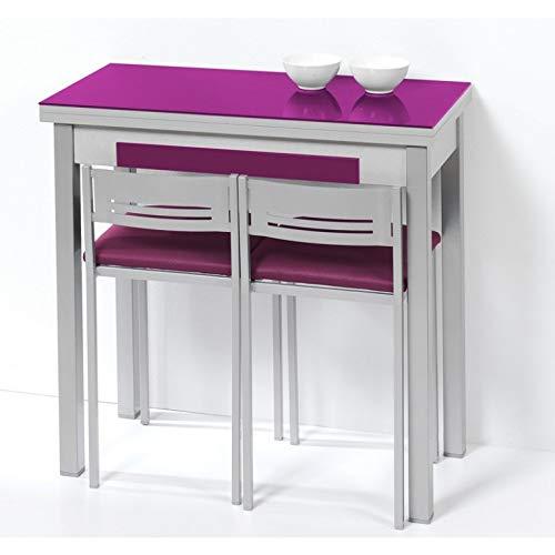 SHIITO Mesa de Cocina de 90x50 cm con Apertura Libro y Tapa de Cristal