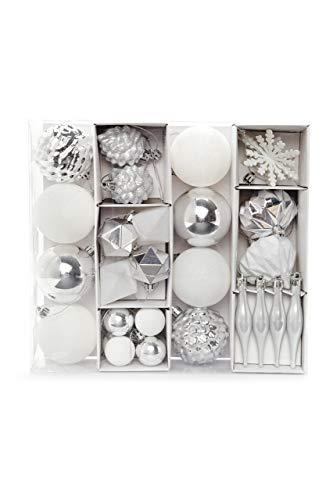 HEITMANN DECO Juego de 29 Bolas de Navidad – Adornos de Navidad Plateados y Blancos para Colgar – Decoración de Navidad de plástico