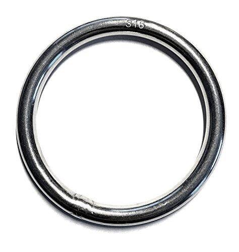 Stainless Steel 316 Round Ring Welded 6mm x 50mm (1/4' x 2') Marine Grade