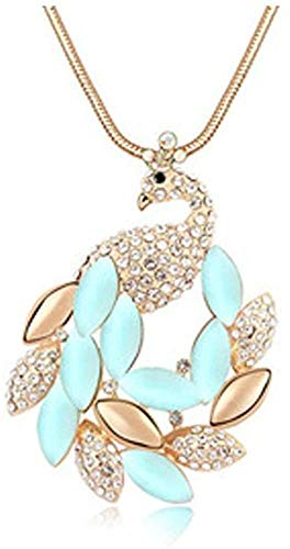 Fashion Accessories Crystal Cat Eye Peacock Sweater Chain Korean Clothing Chain Length Necklace,D
