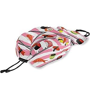 QMIN Almohada de Viaje Japonesa con diseño de Rayas de Sushi, Espuma viscoelástica para el Cuello, Almohada ergonómica en Forma de U para el Cuello, Kit de Viaje para Aviones Largos y Trenes de Coche