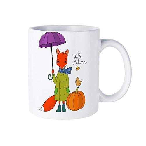 Wendana Leuke Cartoon Vos Onder Een Paraplu Novelty Mok, Grappige Koffie Mok, Ceremic Coffee Cup Mok, 11oz, voor Vrienden,hem,haar,moeder