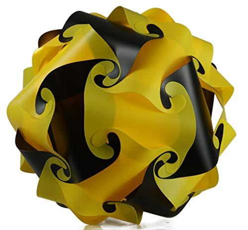 Puzzle Lampe xl 45cm Lampenschirm Steh- Designer- Deco Deckenleuchte schwarz-gelb