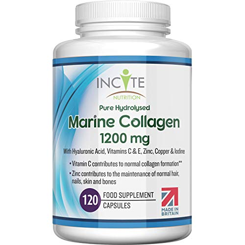 Marine Collagen 1200mg   120 High Strength Capsules Pure Superior Type 1 Hydrolysed Marine Collagen Supplement Enhanced with Hyaluronic Acid, Vitamins C, E, B12, Copper, Zinc and Iodine.