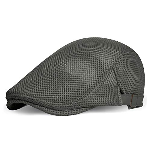 Coucoland Boina para hombre, de verano, con malla, transpirable, diseño de gorra, con visera, accesorio para uso diario gris Talla única