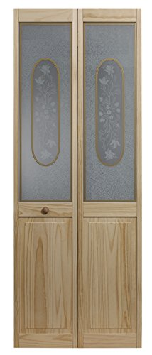 LTL Home Products 812720 Elizabthian Half Glass Bifold Interior Solid Wood Door, 24 Inches x 80 Inches, Unfinished Pine
