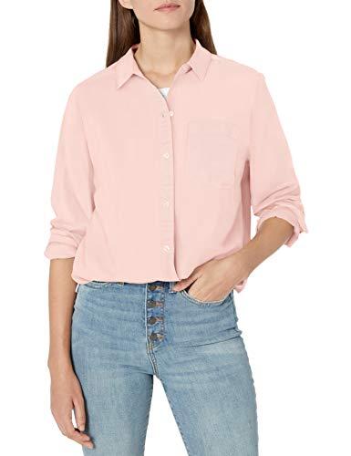 Amazon Brand - Goodthreads Women's Lightweight Twill Oversized Boyfriend Shirt, Vintage Pink, Medium
