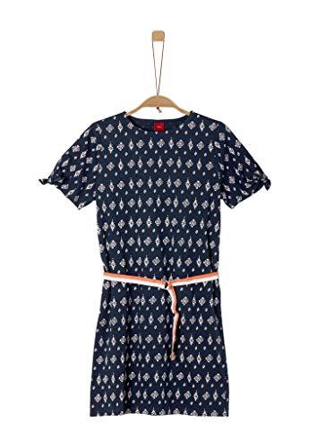 s.Oliver Mädchen Jerseykleid mit Gürtel blue AOP 158.REG