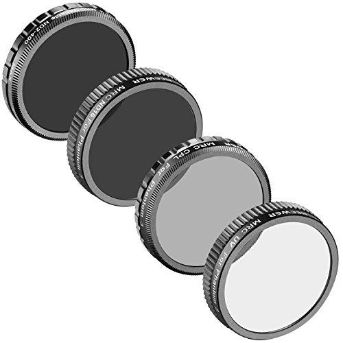 Neewer® für Phantom 3 DJI Advanced/Phantom 3 Professionelle, Multi-Coated 4 Stücke Filters: UV Filter+CPL Filter+ND16 Filter+ ND einstellbare Filter ND2-ND400, Nicht für DJI Phantom 3 Standard