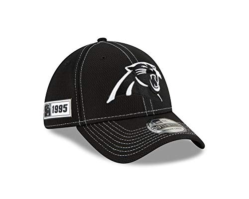 New Era NFL CAROLINA PANTHERS Authentic 2019 Sideline 39THIRTY Black Stretch Fit Road Cap, Größe:S/M