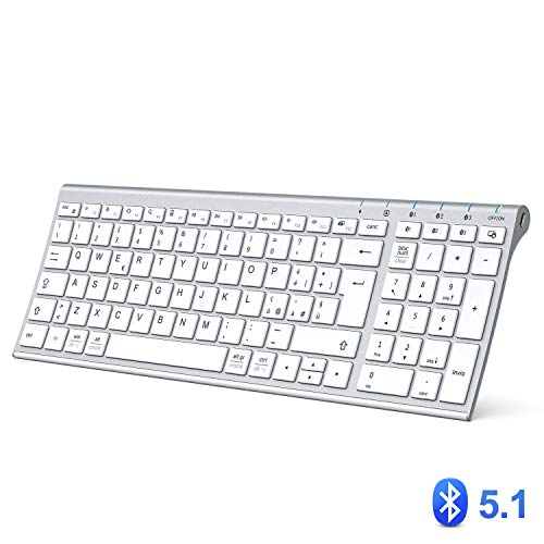 Tastiera Bluetooth, Tastiera Ricaricabile Multi-Dispositivo Bluetooth 5.1 con Tappeto Numerico Dal Design Ergonomico di Dimensioni con Connessione Stabile Tastiera per Mac OS, Android, Windows