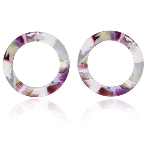 Bonaluna Women's Mottled Circle Shape Basic Stud Earrings Purple Sky