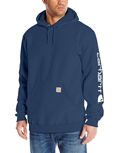 Carhartt Men's Midweight Sleeve Logo Hooded Sweatshirt (Regular and Big & Tall Sizes), New Navy, Large Tall