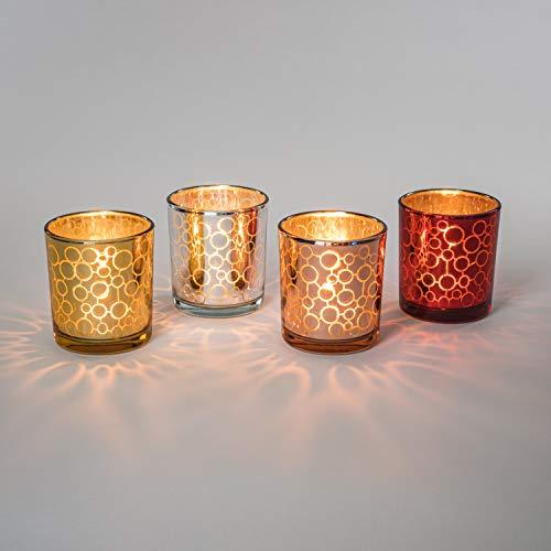Teelicht-Gläser Set aus Glas inkl. Teelichter - Kleine edle Teelicht Kerzen-Halter mit Verzierungen - Windlichter Kerzenglas - Geschenk Dekoration für Hochzeit, Geburtstag, Weihnachten (Mix 4er Set)