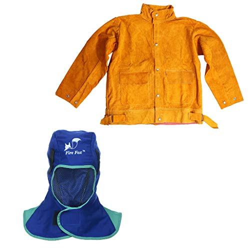 H HILABEE Feuerhemmende Leder Schweißjacke & Kopfbedeckung Torching Hood Welder Hat