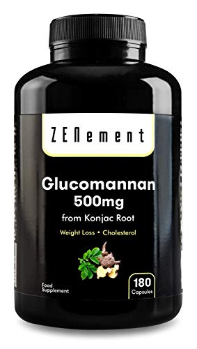 Glucomanano 500 mg, 180 Cápsulas | Fibra vegetal de la raíz de konjac | 100% Natural, Vegano, No-GMO, libre de aditivos, sin gluten | de Zenement