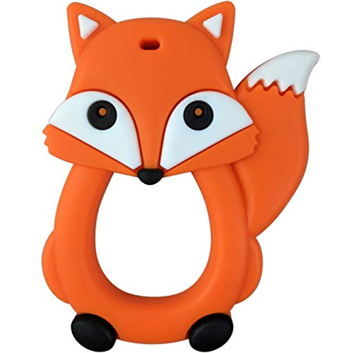 Beissring für Baby zum Zahnen - Fuchs-Design von Baby Uma, Zahnungshilfe aus BPA-Freiem Silikon, ab 3+ Monate