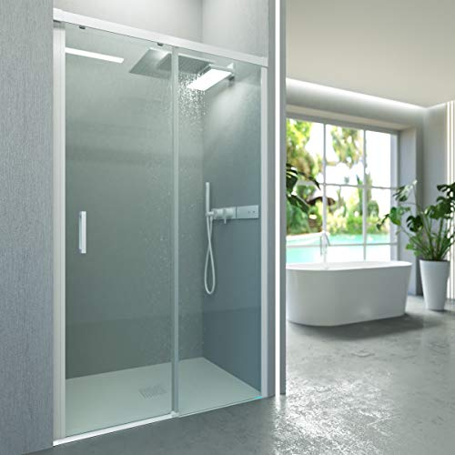VAROBATH .Mampara de ducha con apertura frontal de puerta corredera, perfil blanco y cristal transparente con 6 mm de grosor. Disponible en varias medidas. (127 a 136)