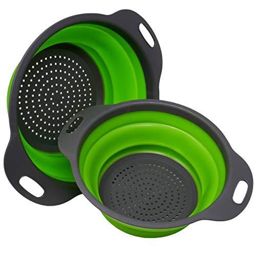 WUMDOO Silikonsieb Set faltbar in Grün Ø 23,5 x 9,5 und Ø 20 x 8,5 cm   Nudelsieb Abtropfsieb Küchensieb Camping   Hochwertiges zusammenklappbares Filterkorb für die Küche