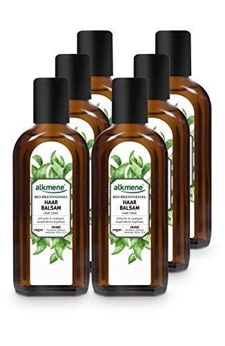 alkmene Haarbalsam mit Bio Brennnessel - Haarwasser mit Provitamin B5 für empfindliche Kopfhaut & feines Haar - Haarpflege vegan ohne Silikon, Parabene, Mineralöl, SLS & SLES im 6er Pack (6x 250 ml)