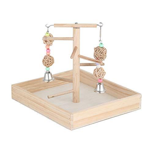ZZM Papageien-Spielplatz, Holz, massives Holz, Spielstange, Vogelkäfig, interaktive Plattform, Schaukelglocke, Kauspielzeug für kleine Tiere und Papageien