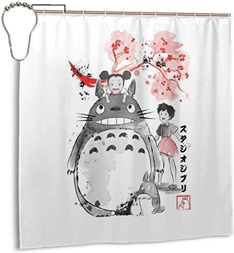 Lucky girlfriend Wasserdichter Duschvorhang aus Polyester My Neighbour to-t-ORO Sumie Print Dekorativer Badvorhang mit Haken, 72 '' X 72