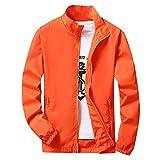 TOPKEAL Chaqueta de Deporte al Aire Libre de Tallas Grandes para Hombre Abrigo con Cremallera Otoño Invierno Naranja XL