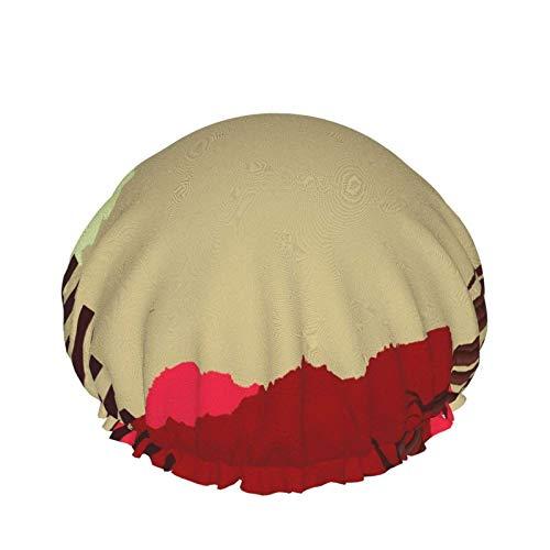 Gorro de ducha de doble capa,Tema japonés con bambú y montañas,Gorras de baño elásticas impermeables reutilizables para todas las longitudes de cabello