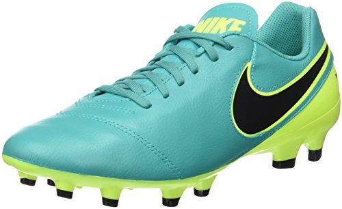 Nike Tiempo Genio II Leder Fester Boden Fußbalchuhe, Scarpe da Calcio Uomo, Turchese (Clear Jade Türkis/Volt Gelb/Schwarz), 42.5 EU