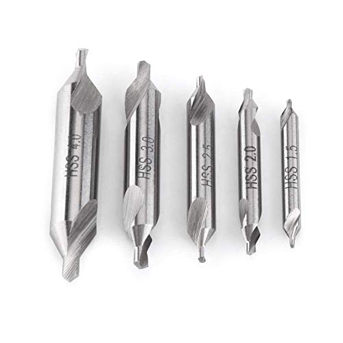 Gulakey Center Drill Bit Set, 5pcs 1.5/2/2.5/3/4mm 60 Degree Angle Pratical High Rate Steel Drill Holes Center Drill Bits Kit Metalworking Tool for Lathe Machines