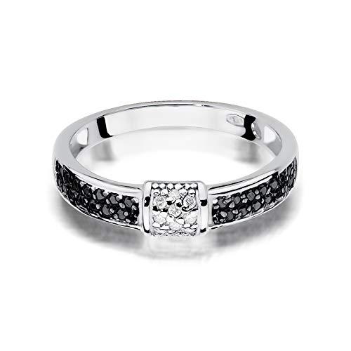 Anillo de compromiso para mujer, de oro blanco 585 de 14 quilates, con diamantes y brillantes