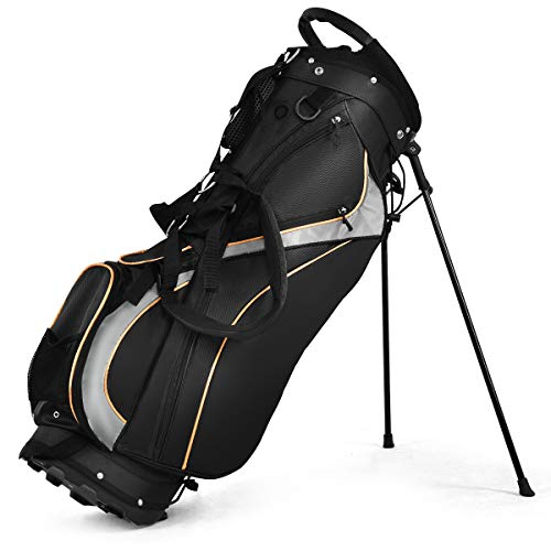 Tangkula Golf Stand Bag with 8 Way Divider, Portable Golf Bag with Waterproof Wear-Resistant Durable Fabric, Easy Carry Space Saving Womens Mens Golf Bag, Black