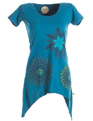 Vishes - Alternative Bekleidung - Asymmetrisch geschnittenes Longshirt, Elfen Tunika mit großen Blumen Bedruckt türkis 38