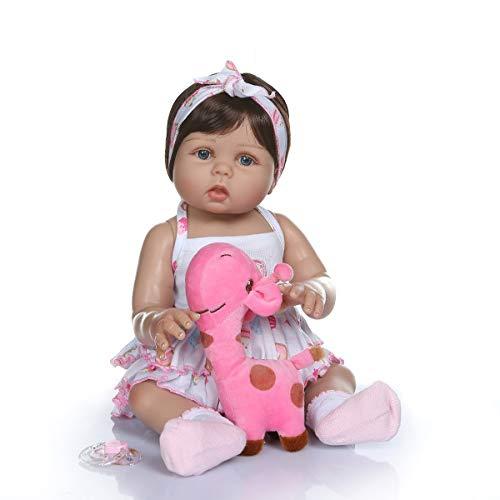 MineeQu 18inch 47cm Tan Suave y Suave Toque de Silicona Vinilo de Cuerpo Completo Reborn Baby Dolls in Tan Skin Real Preemie Awake Newborn Doll Lavable para niña