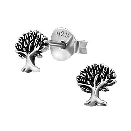 Laimons Damen-Ohrstecker Baum des Lebens oxidiert Sterling Silber 925
